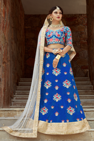 Charming Blue Art Silk Embroidery Latest Lehenga Designs For Party