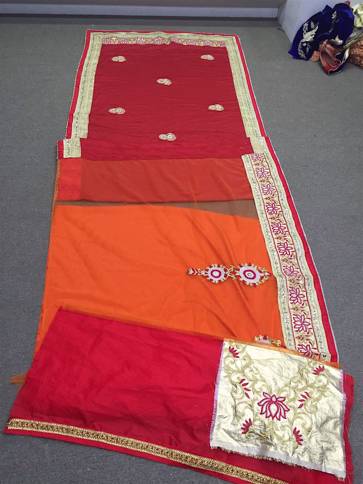 Red and Orange Bollywood Sarees Online Dress ,Indian Dresses - 3