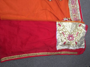 Red and Orange Bollywood Sarees Online Dress ,Indian Dresses - 4