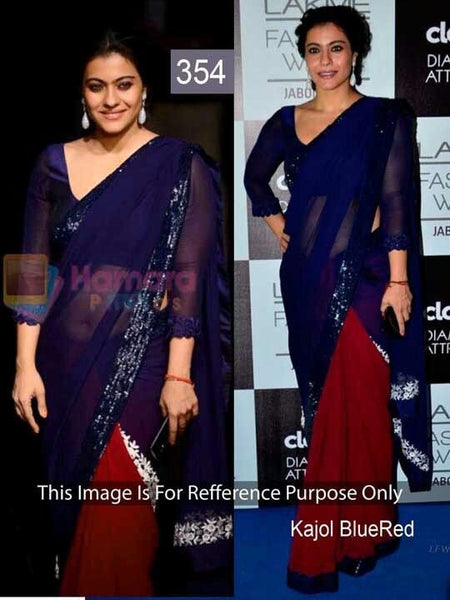 Navy Blue And Red Georgette Kajol Replica Sarees Bollywood ,Indian Dresses - 1