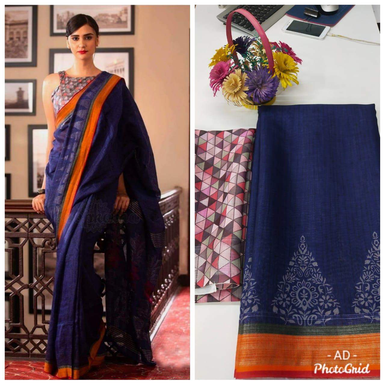 Dark Blue Linen Digital Print Traditional Sarees Online Shopping