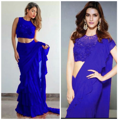 Blue Georgette Ruffle Latest Design Fashion Sarees Online Shopping