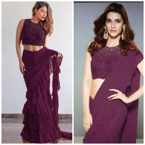 Wine Color Georgette Ruffle Sarees Buy Online India