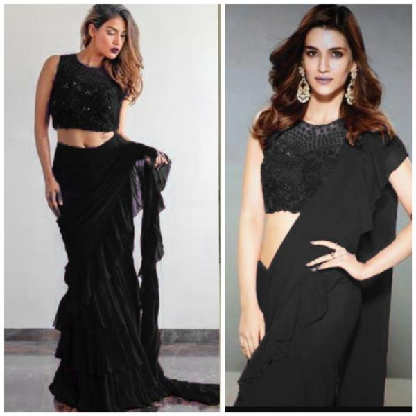 Black Georgette Ruffle Saree Designs With Price In India