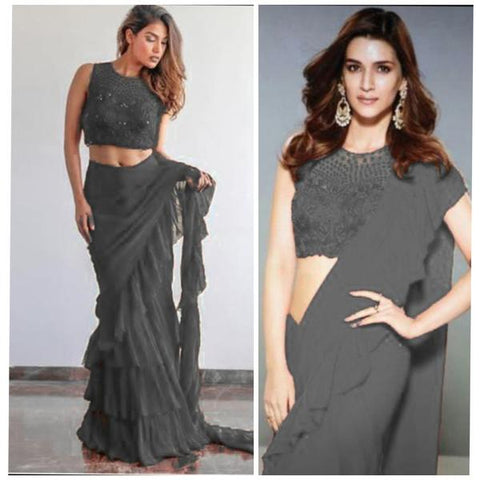 Grey Georgette Ruffle Sarees Collection Online Shopping