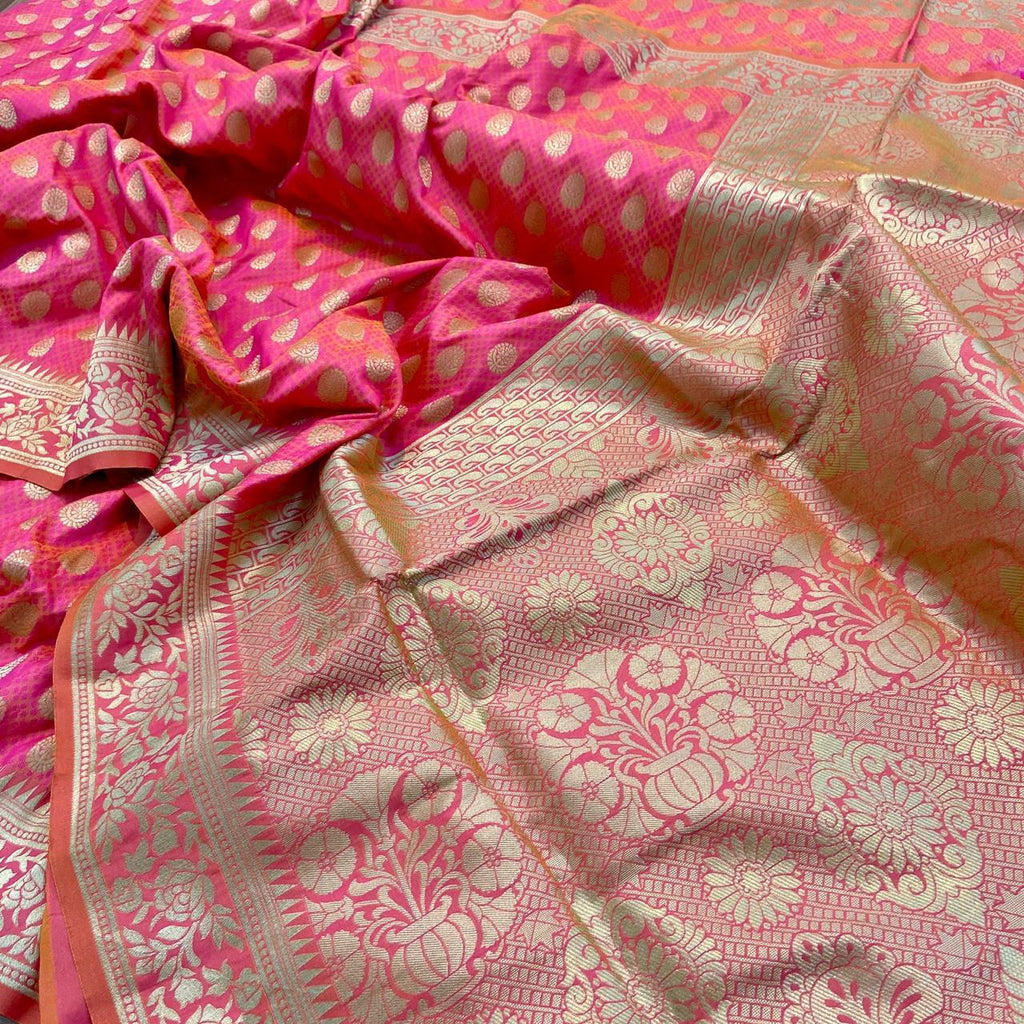 Beautiful Pink Banarasi Minakari Weaving Traditional Silk Sarees