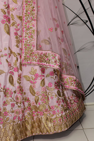 Pastel Pink Silk Embroidered Fancy Lehenga Choli Bollywood