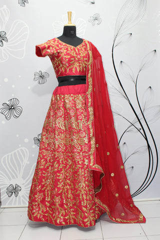 Red  Silk New Indian Dresses Lehenga Choli Designs