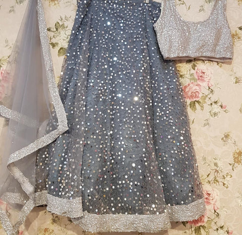 Gray Net Sequins Work Bollywood Lehengacholi Online India