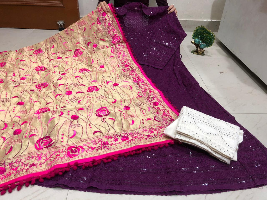 Wine Color Chickenkari Sequins Work Anarkali Palazzo