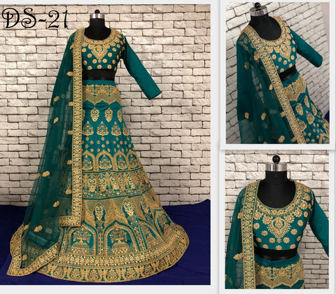 Teal Green Taffeta Silk Wedding Ghagra Choli And Lehenga