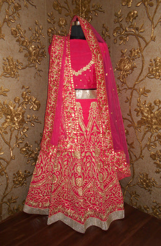 Gorgeous Pink Heavy Embroidered Indian Wedding Lehenga ,Indian Dresses - 2