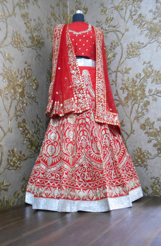 New Heavy Embroidered Red Bollywood Wedding Lehengas ,Indian Dresses - 2