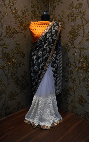 Black And White Bollywood Designer Sarees Online ,Indian Dresses - 2