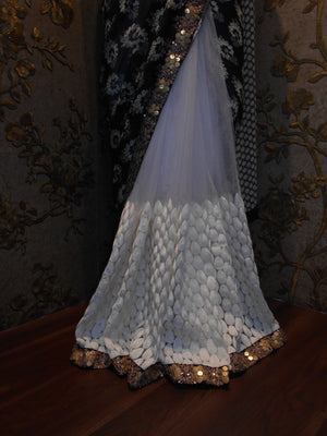 Black And White Bollywood Designer Sarees Online ,Indian Dresses - 3