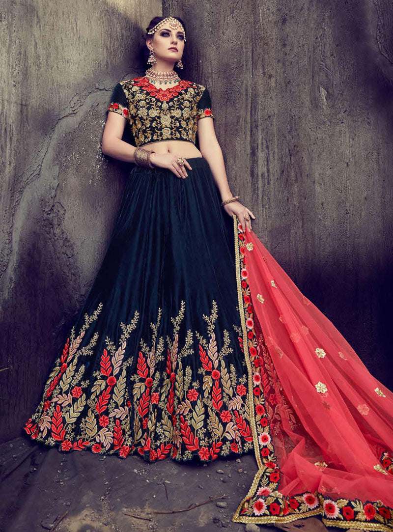 Navy Blue Velvet Lehenga Blouse Wedding Wear Online Shopping
