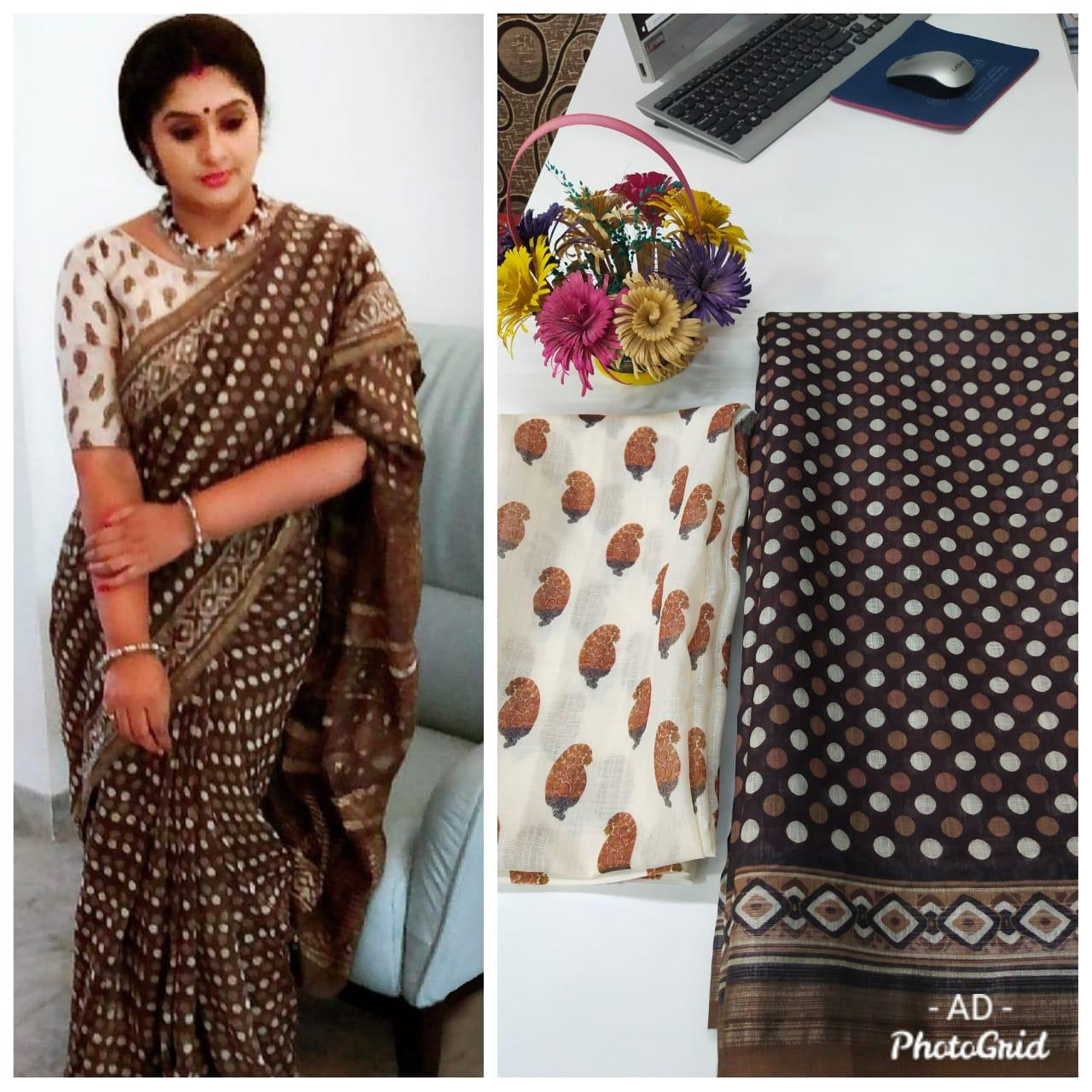 Dark Brown Linen Polka Dot Pattern Digital Print Sarees Online Shopping