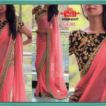 Peach Georgette Latest Bollywood Saree ,Indian Dresses - 1