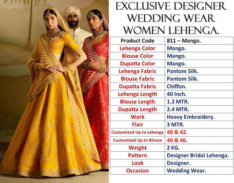 Yellow Silk Embroidery Latest Design Of Wedding Lehenga