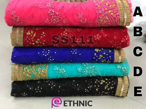 Elegant Net Embroidery Indian Dresses Online Shopping For Women Sarees