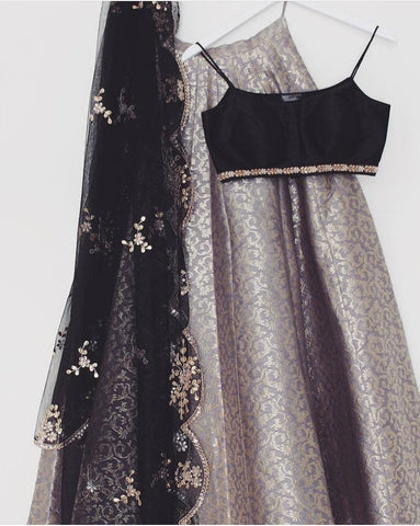 Gray Brocade Lehenga Blouse Indian Dresses Shop Online