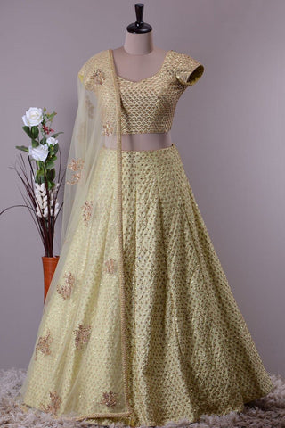 Light Yellow  Banarasi Silk Latest Ghagra Choli Design Online