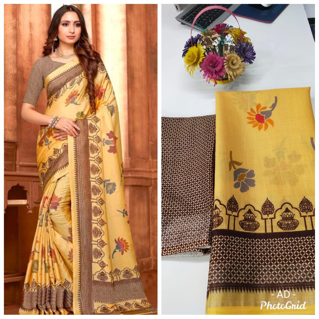 Light Yellow Online Linen Digital Print Saree Shopping In India