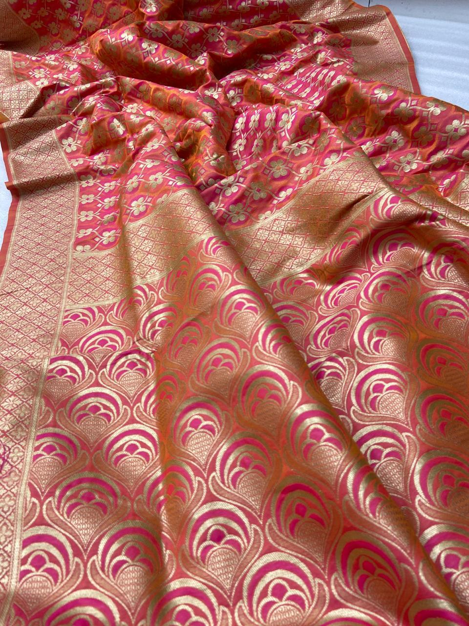 Pink Orange Banarasi Minakari Weaving Beautiful Indian Saree Design
