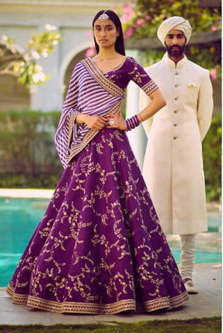 Latest Purple Phantom Silk Bollwood Indian Fashion Lengha