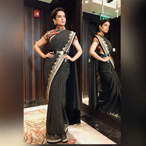 Kangana Ranaut Black Cotton Silk Bollywood Fashion Saree