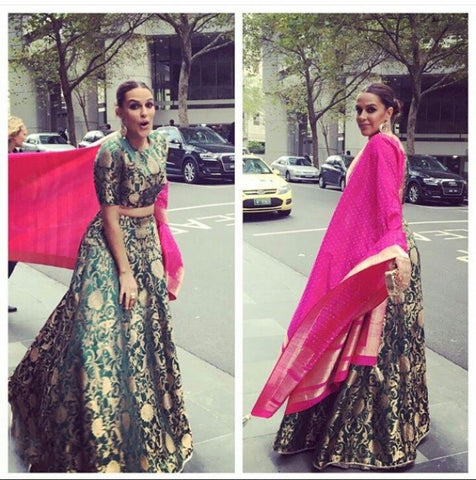 Neha Dhupia Bollywood Fashion Green Brocade Lehenga Choli