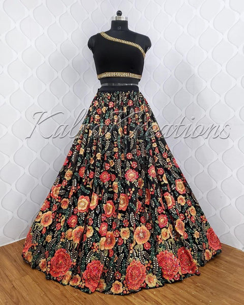 Black Floral Print Silk Party Wear Lehenga Choli Online Shopping
