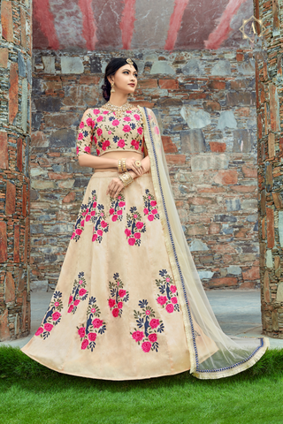 Cream Art Silk Floral Embroidery Latest Design Lehenga Choli Online