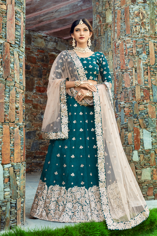 Teal Art Silk Zari Floral Motif Embroidery Latest Lehenga Design Online