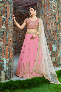 Baby Pink Art Silk Zari And Sequins Embroidery Lehenga Choli Design Online