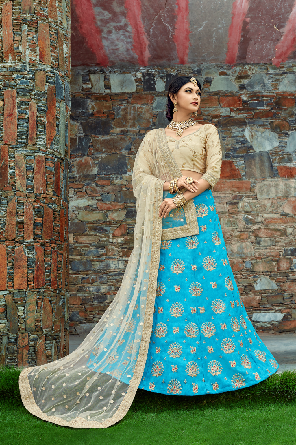 Sky Blue Art Silk Embroidery Indian Party Wear Ladies Lehenga Choli