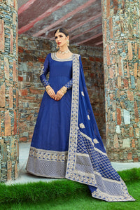 Navy Blue Art Silk Indian Dresses Party Gown Style Anarkali Online