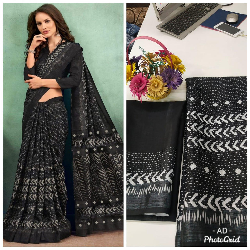 Black Linen Digital Print Traditional Sarees Online Shopping India