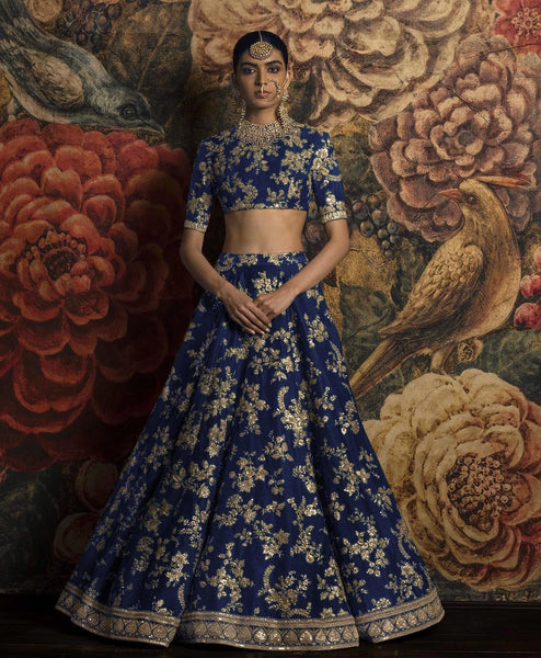 Navy Blue Silk Bollywood Lengha Ghagra Choli Wedding Dress