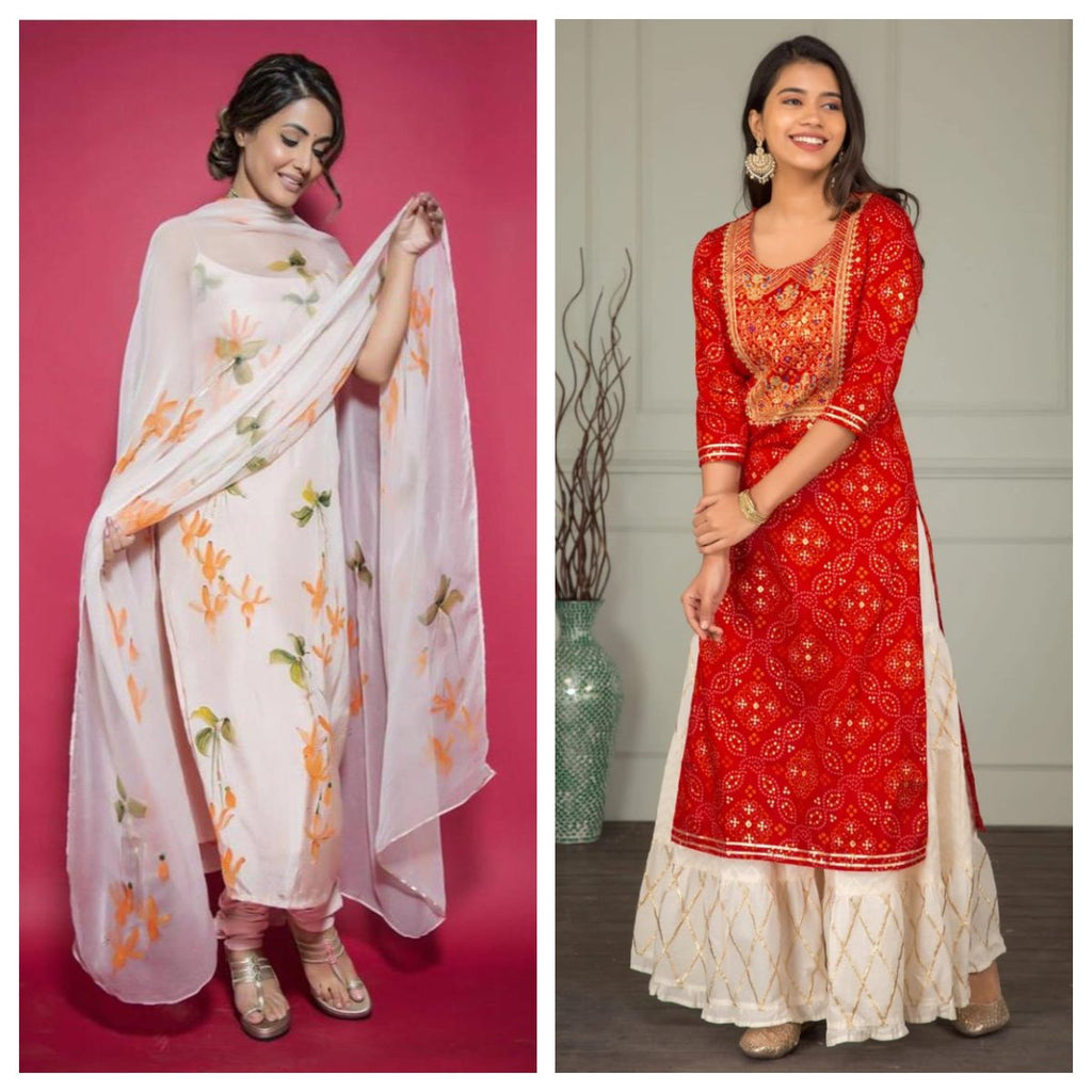 Red Bandhej and White Silk Floral Print Kurti Suit Combos