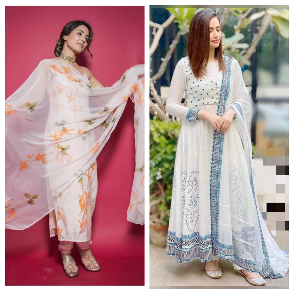 White Cotton and White Silk Floral Print Kurti Suit Combos