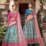 Pastel Light Blue Embroidered Satin Wedding Wear Lehenga Choli India