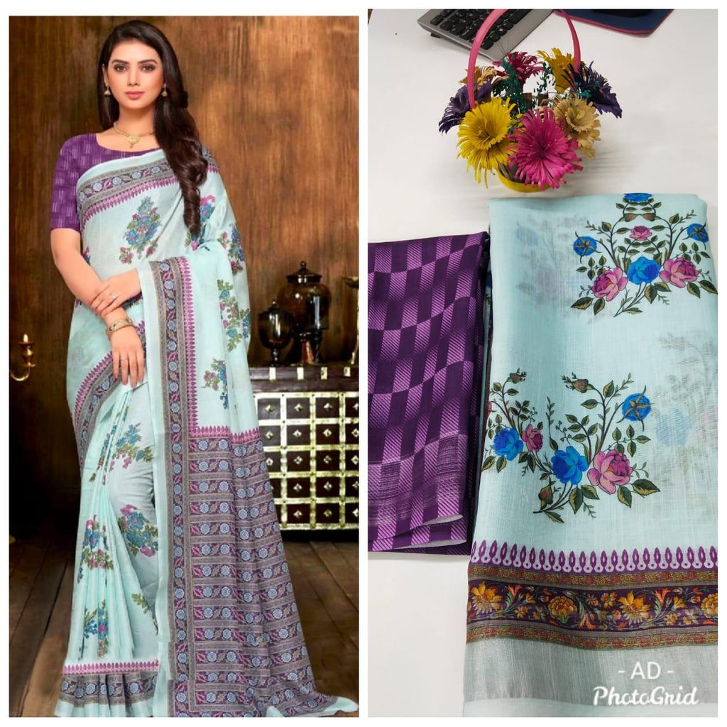 Powder Blue Linen Digital Floral Print Sari New Fashion India Online