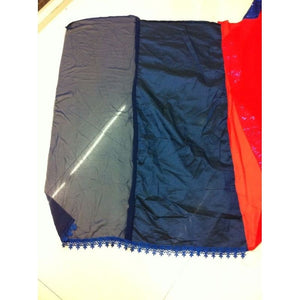 Navy Blue And Red Georgette Kajol Replica Sarees Bollywood ,Indian Dresses - 5