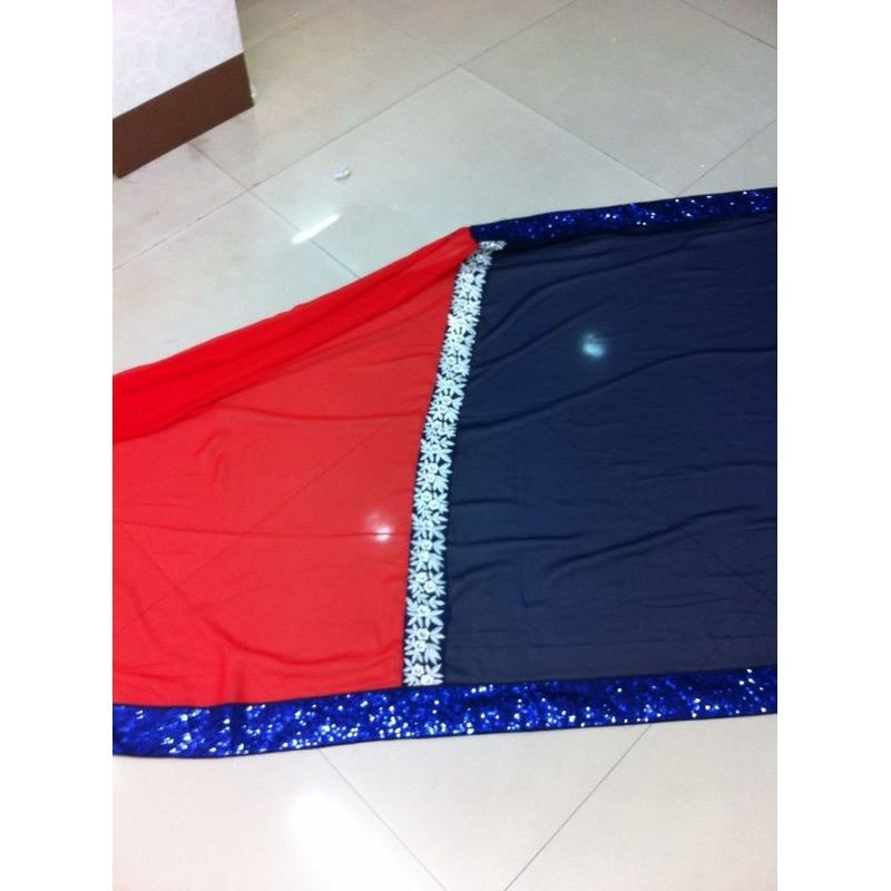Navy Blue And Red Georgette Kajol Replica Sarees Bollywood ,Indian Dresses - 4