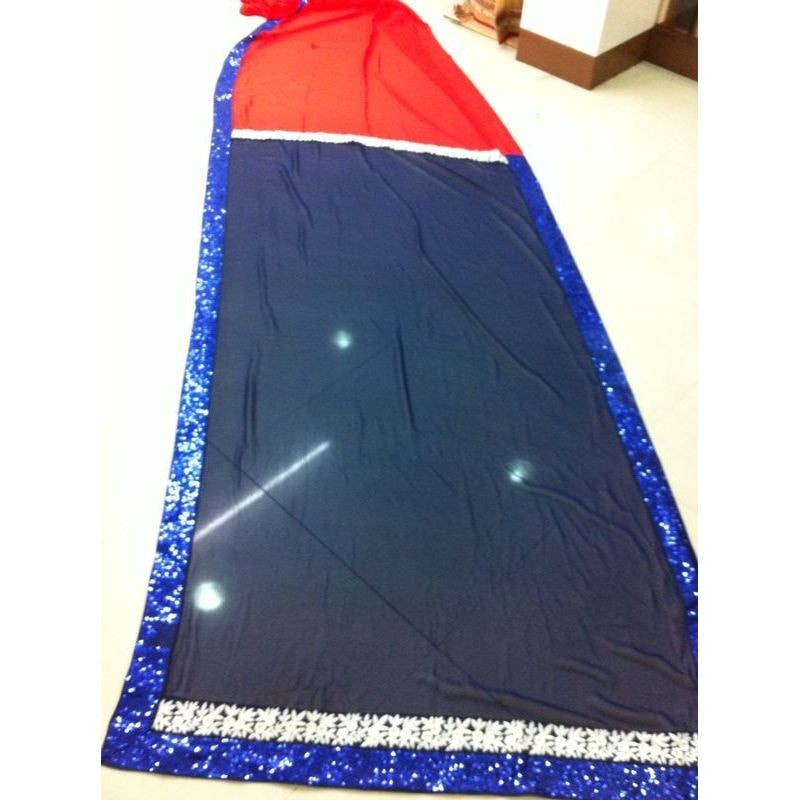Navy Blue And Red Georgette Kajol Replica Sarees Bollywood ,Indian Dresses - 3