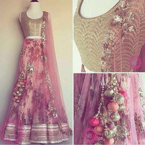 Pink Golden Floral Bollywood Lehenga Choli Online ,Indian Dresses - 1