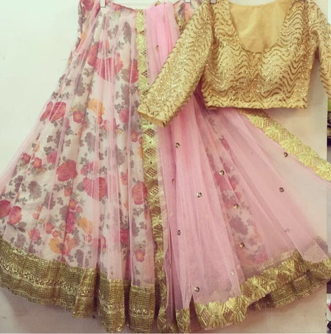 Pink Golden Floral Bollywood Lehenga Choli Online ,Indian Dresses - 2