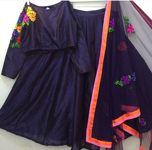 Navy Blue Floral Embroidery Indian Designer Lehenga Choli ,Indian Dresses - 2