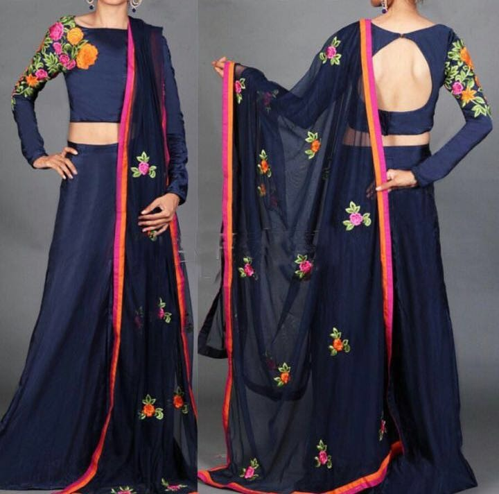 Navy Blue Floral Embroidery Indian Designer Lehenga Choli ,Indian Dresses - 1